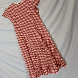 Red gingham VTG pioneer style dress, S/M, 19/22